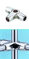 Зажим усиленный для труб  в 5-ти направлениях  d=25мм, хром