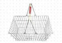 Покупательская металлическая корзина  450х320х200 (хром) красн.ручка