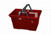 Покупательская пластиковая корзина  20 л, 2 ручки, красная