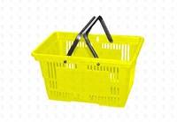 Покупательская пластиковая корзина  20 л, 2 ручки, желтая