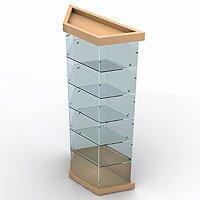 Витрина четырехгранная с зеркальной задней стенкой L900VF