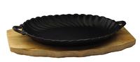 Сковорода овальная на деревянной подставке с ручками 245х170 мм