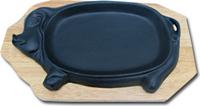 Сковорода на деревянной подставке Свинка 310х180 мм